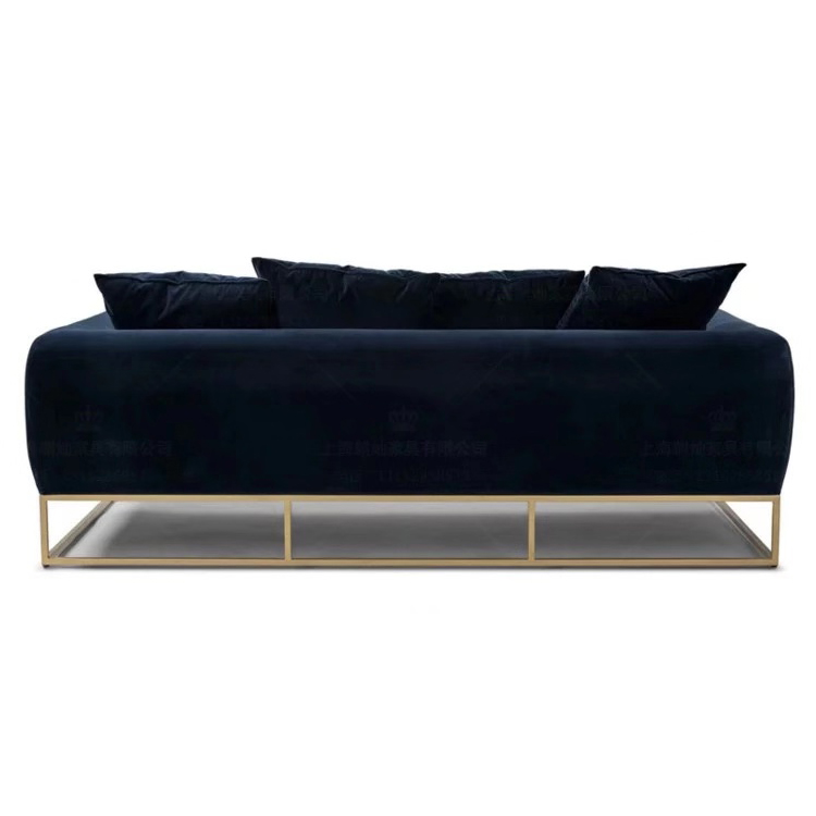 New style 3 seater office led sectional lounge velvet sofa set with metal legs for living room