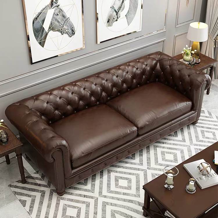 custom european office vintage recliner office 7 seater chesterfield corner sofa set genuine leather for sitting room