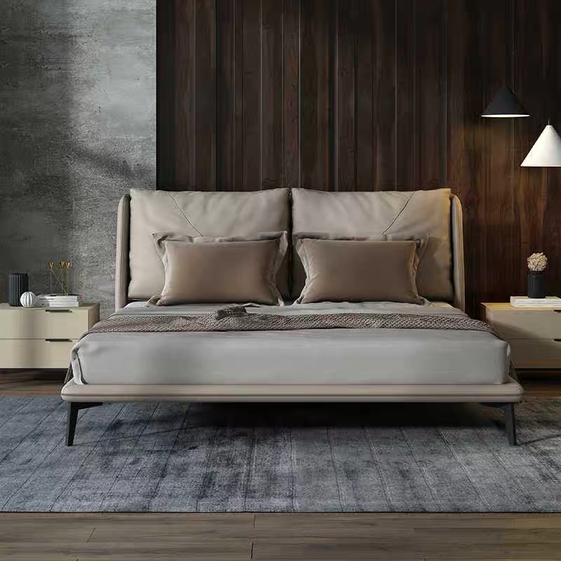 Elegant Microfiber leather double bed Comfortable bed set furniture bedroom