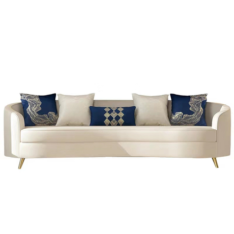 New fashion design genuine living room italian european luxory leisure white leather 3 seats sectional sofa set