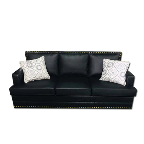 China modern hotel office luxury 3 seater black sitting room leather couches living room sofa set