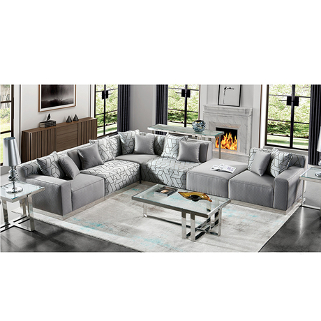 custom modern simple large size U-shaped fabric couch living room 7 seater corner Sofas