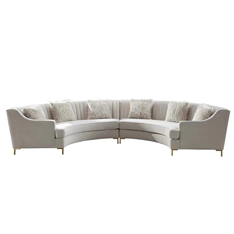 Factory price modern white velvet fabric sectionals u shape 6seats sofa set indoor furniture