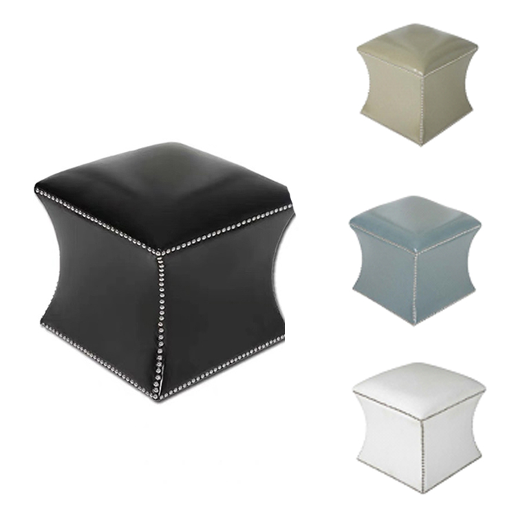 custom modern square brown black moroccan PU leather ottoman pouf stool