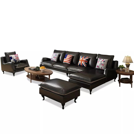 American morden luxury black couches living room furniture 5 seater leather recliner sofa bed set