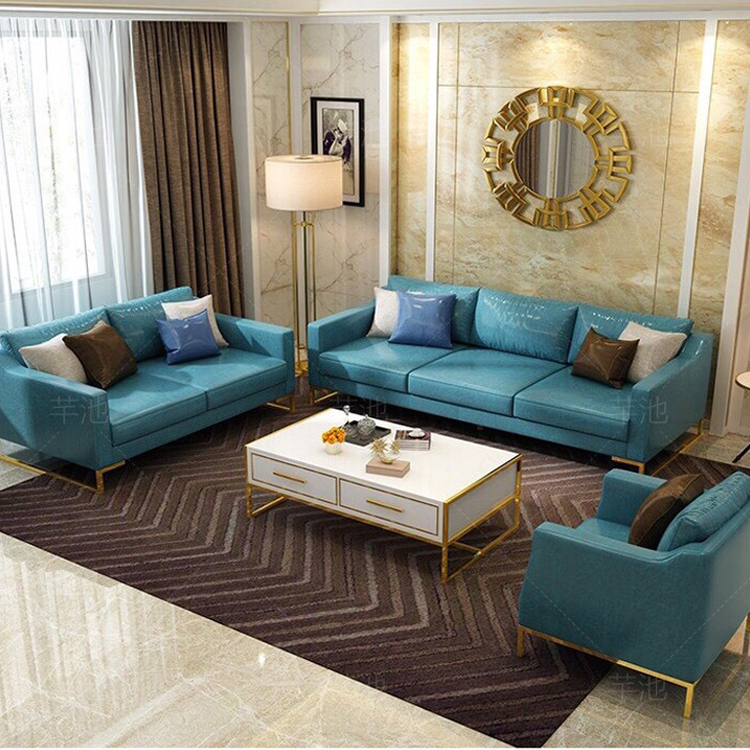 custom modern cheap luxury blue couch sofa furniture 7 3 seater set for living room