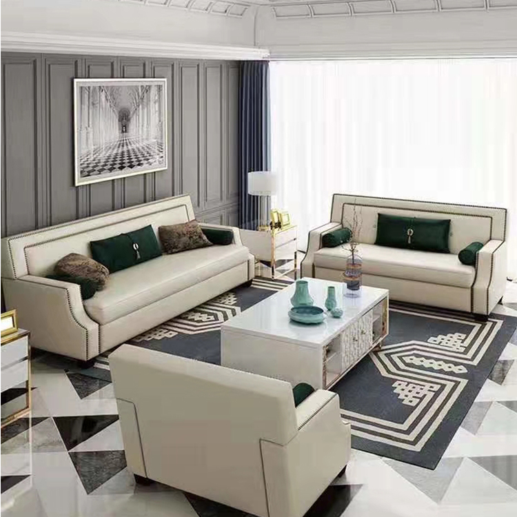 New fashion italian modern luxury couches living room furniture 7 seater leather sofa set three