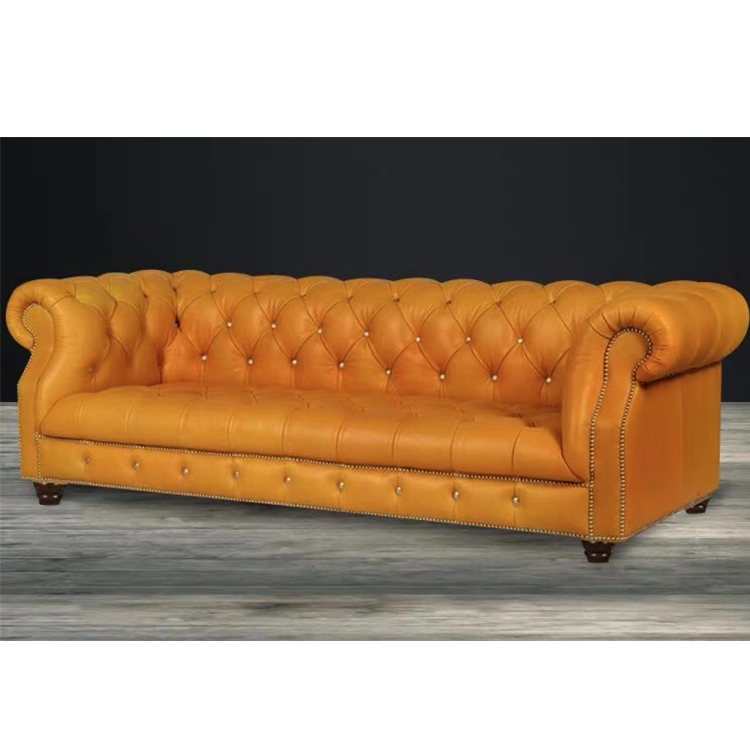 Comfortable antique office 3 2 seater living room furniture italy chesterfield yellow leather sofa