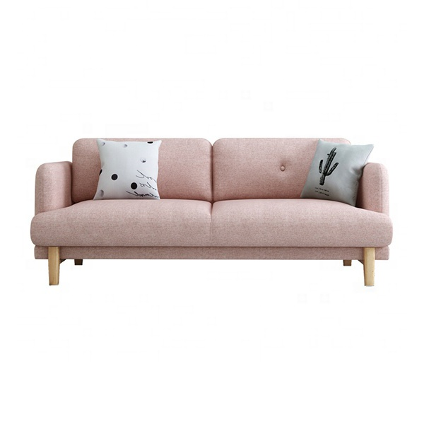Custom european luxury designs nordic style leisure wood frame fabric couch sofa 2 seater for living room