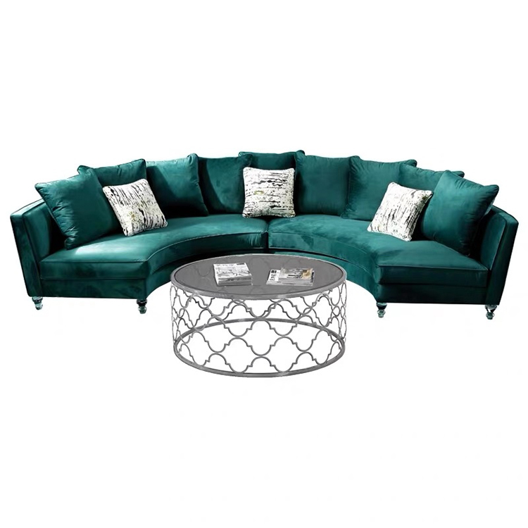 Comfortable new design round couch living room sectional furniture royal velvet blue sofa
