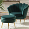 Factory price green pink single sitting highback velvet armchair hotel round lobby office living room sofa chair