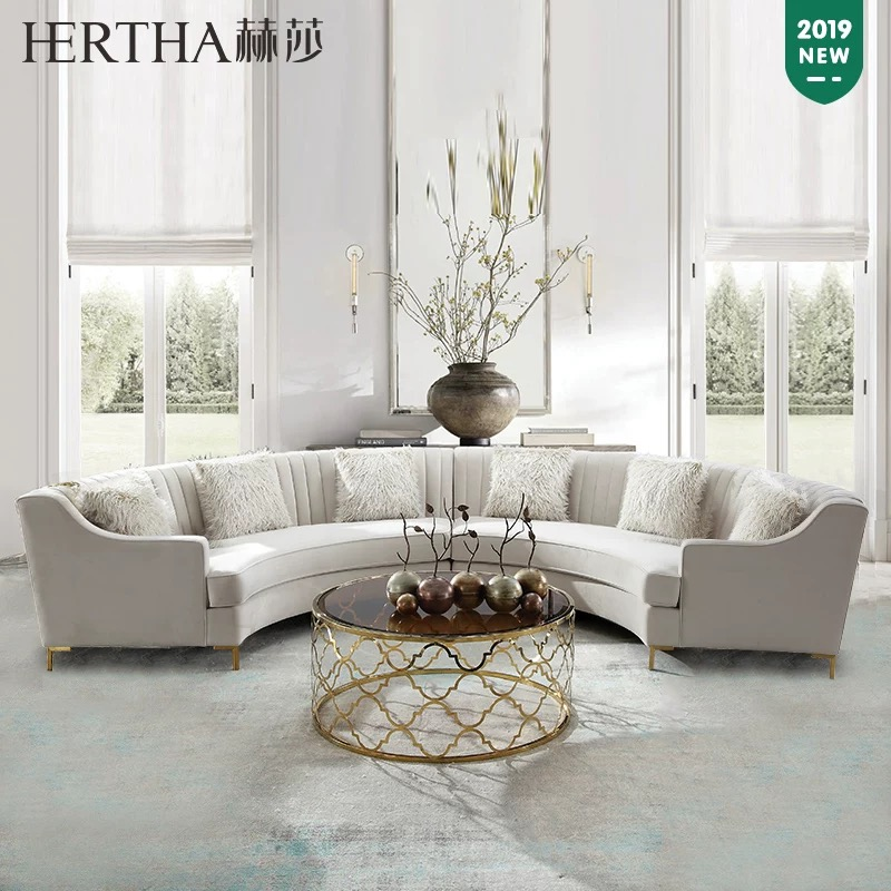wholesale fabric european style furniture half circle sectional big corner round hotel sofa